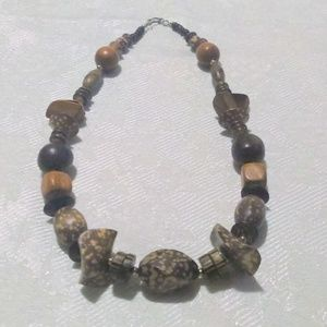 Vintage Boho chunky Spotted Wood Bead Necklace